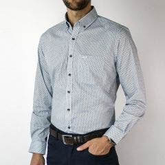 Camisa Trevira Estampada Button Down Spandex Regular Fit
