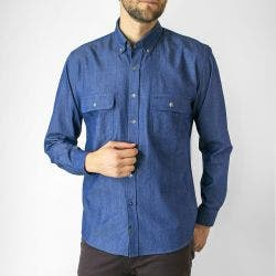 Camisa Espigas Denim Look Regular Fit