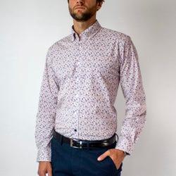 Camisa Trevira Microdiseño Listado Spandex Regular Fit