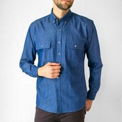 Camisa Espigas Denim Look Regular Fit
