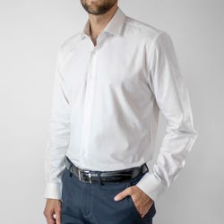 Camisa Dobby Sin Bolsillo Slim Fit White Color