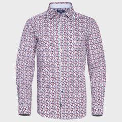 Camisa Estampada Cuello Italiano ML